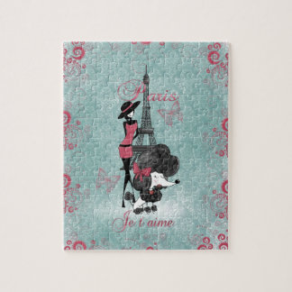 Elegant vintage French poodle girls silhouette Jigsaw Puzzle