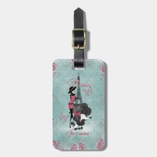 Elegant vintage French poodle girls silhouette Luggage Tag
