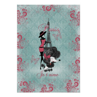 Elegant vintage French poodle girls silhouette Posters