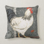 Elegant vintage French Rooster black grey & white Pillow