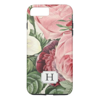 Elegant Vintage Garden Floral Monogram Name iPhone 8 Plus/7 Plus Case