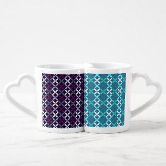 Elegant vintage gentle abstract violet/teal couple mugs