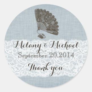 Elegant vintage gentle fan romantic lace thank you classic round sticker