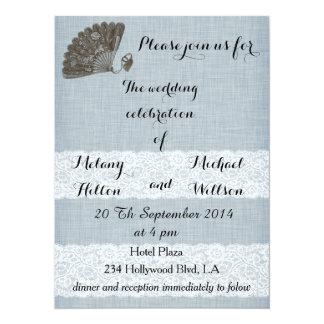 Elegant vintage gentle fan romantic lace wedding card