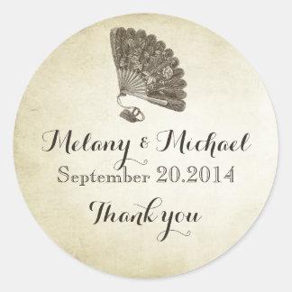 Elegant vintage gentle fan romantic thank you classic round sticker