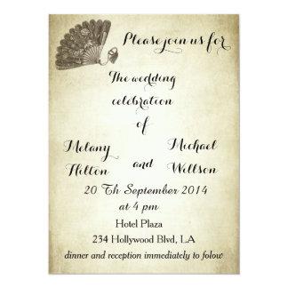 Elegant vintage gentle fan romantic wedding card
