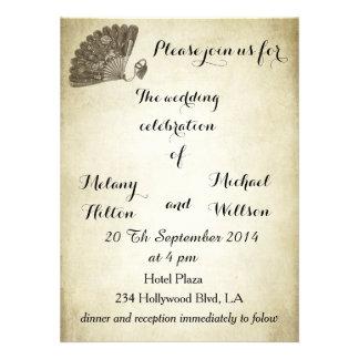 Elegant vintage gentle fan romantic wedding custom announcements