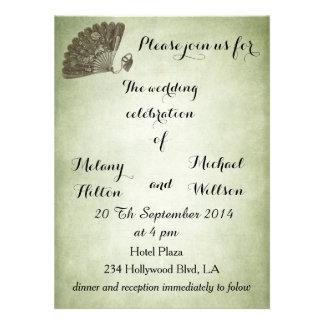Elegant vintage gentle fan romantic wedding personalized announcements