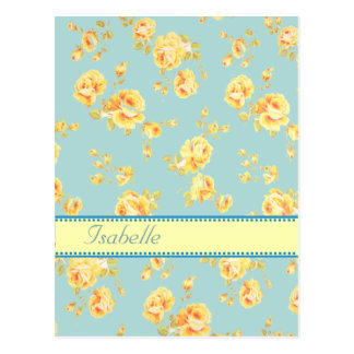 Elegant  vintage gentle floral monogram postcard