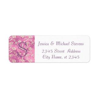 Elegant  vintage gentle pink floral monogram label