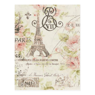 Elegant vintage girly floral paris fashion postcard