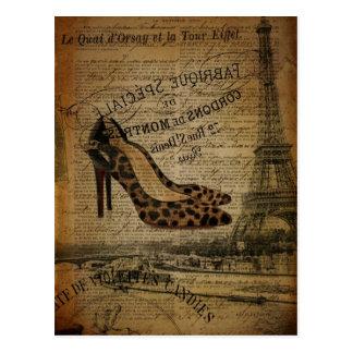 elegant vintage girly paris fashion postcard