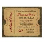 Elegant Vintage Gold Admit One 50th Birthday/Party 4.25x5.5 Paper Invitation Card