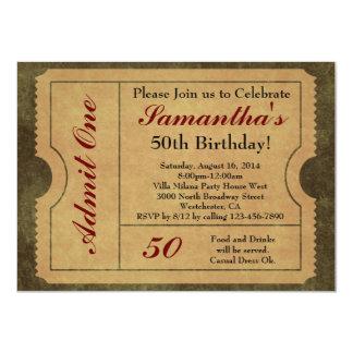 Elegant Vintage Gold Admit One Ticket Invitations