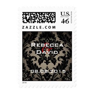 Elegant vintage Gold black formal damask Wedding Postage Stamps