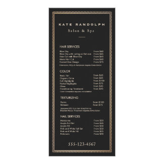 Elegant Vintage Gold Border Black Price List Menu