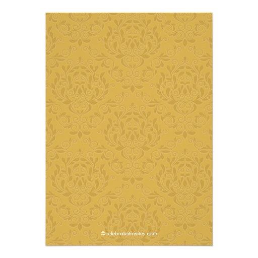 Elegant Vintage Gold Damask Anniversary Party Invitation (back side)
