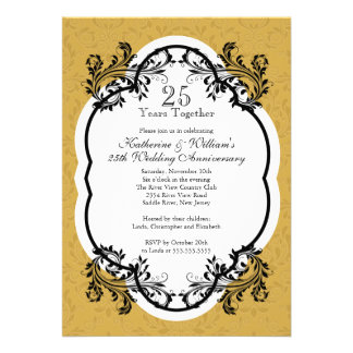 Elegant Vintage Gold Damask Anniversary Party Invitation