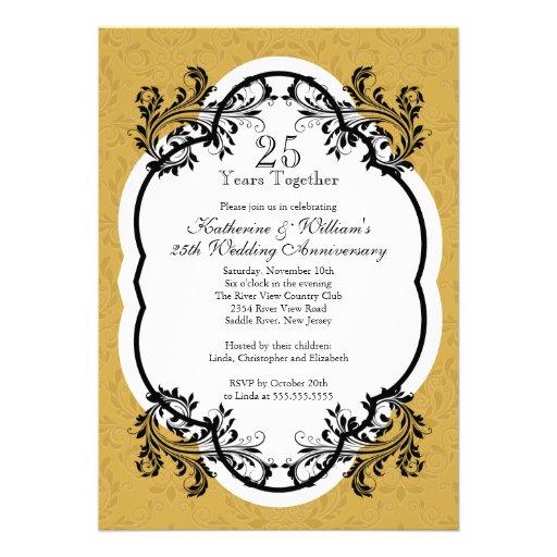 Elegant Vintage Gold Damask Anniversary Party Invitation (front side)