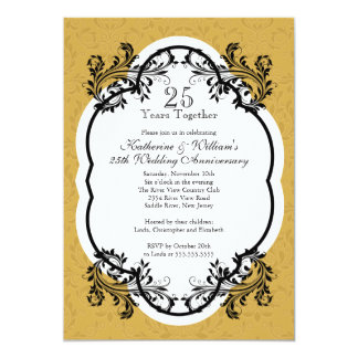 Elegant Vintage Gold Damask Anniversary Party Invitation