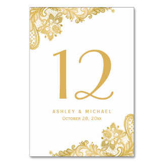 Elegant Vintage Gold Lace Wedding Table Number Card