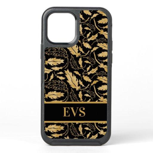 Elegant Vintage Gold Leaves Black Monogram OtterBox Symmetry iPhone 12 Case