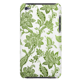 Elegant Vintage Green and White Floral Wallpaper Barely There iPod Case