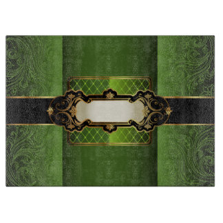 Elegant Vintage Green Floral Monogram Cutting Board