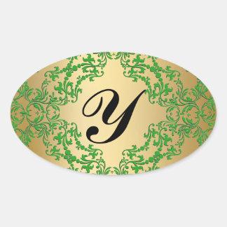 Elegant Vintage Green Monogram Gold Seal Sticker