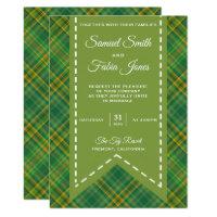 Elegant Vintage Green Plaid Wedding Invitation