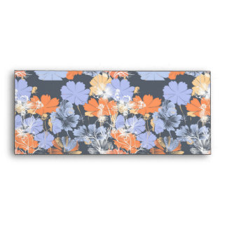 Elegant vintage grey violet orange floral pattern envelope