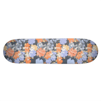 Elegant vintage grey violet orange floral pattern skateboard deck