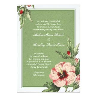 Elegant Vintage Hibiscus Floral Wedding Invitation