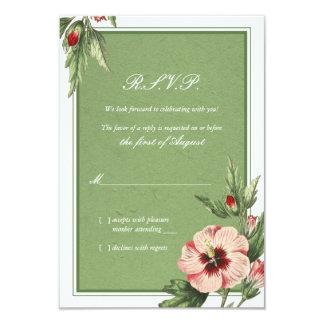 Elegant Vintage Hibiscus Floral Wedding Reply Card