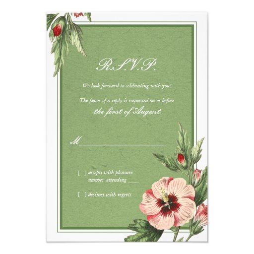 Elegant Vintage Hibiscus Floral Wedding Reply Card Personalized Invitation