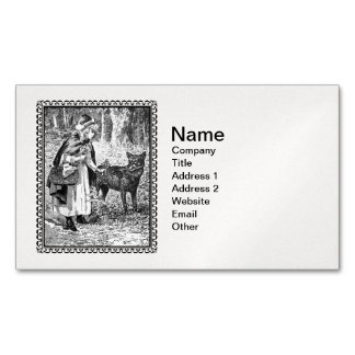 Elegant Vintage Illustration Riding Hood With Wolf Business Card Magnet