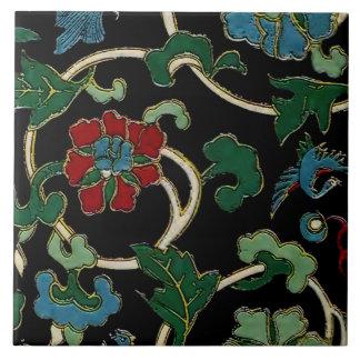 Elegant Vintage Japanese Floral Ceramic Tile