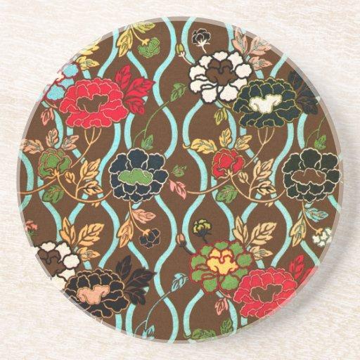 Elegant Vintage Japanese Floral Design Coaster