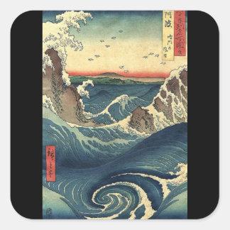 ELegant Vintage Japanese Ocean Tide Square Sticker