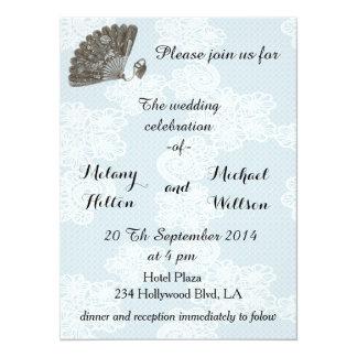 Elegant vintage lace romantic fan  wedding card