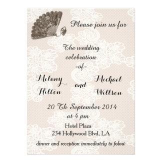 Elegant vintage lace romantic fan  wedding announcement