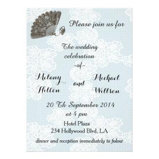 Elegant vintage lace romantic fan  wedding personalized announcement