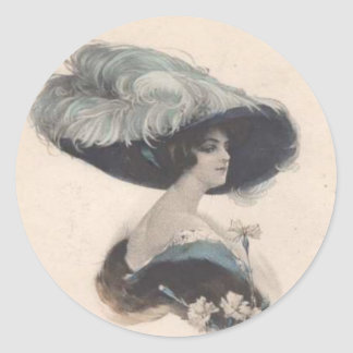 Elegant Vintage Lady in Hat Classic Round Sticker