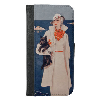 Elegant Vintage Lady in white by Ocean Scotty Dog iPhone 6/6s Plus Wallet Case