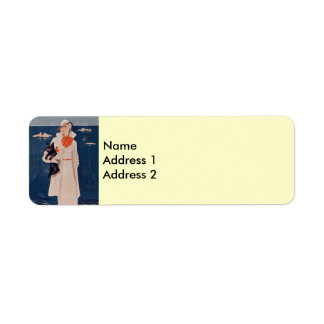 Elegant Vintage Lady Scotty Dog Return Address Lab Label