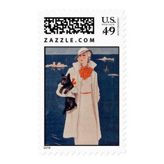 Elegant Vintage Lady Scotty Dog Stamp