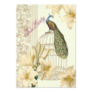 elegant Vintage lily peacock Bridal Tea party Card