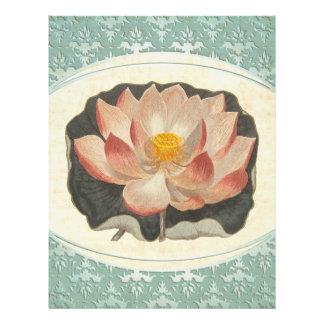 Elegant Vintage Lotus Blossom Antique Botanical Letterhead
