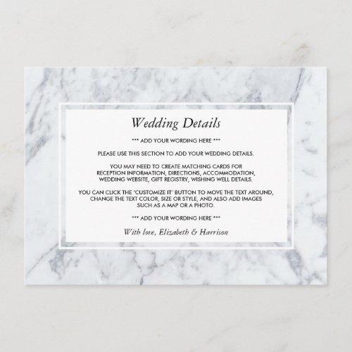 Elegant Vintage Marble Wedding Detail Insert
