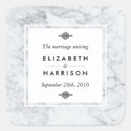 Elegant Vintage Marble Wedding Favor Square Sticker
